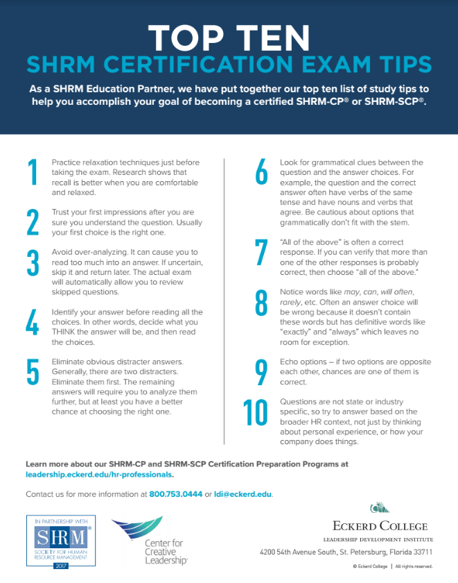 Top Ten SHRM Exam Tips - SHRM-CP/SCP